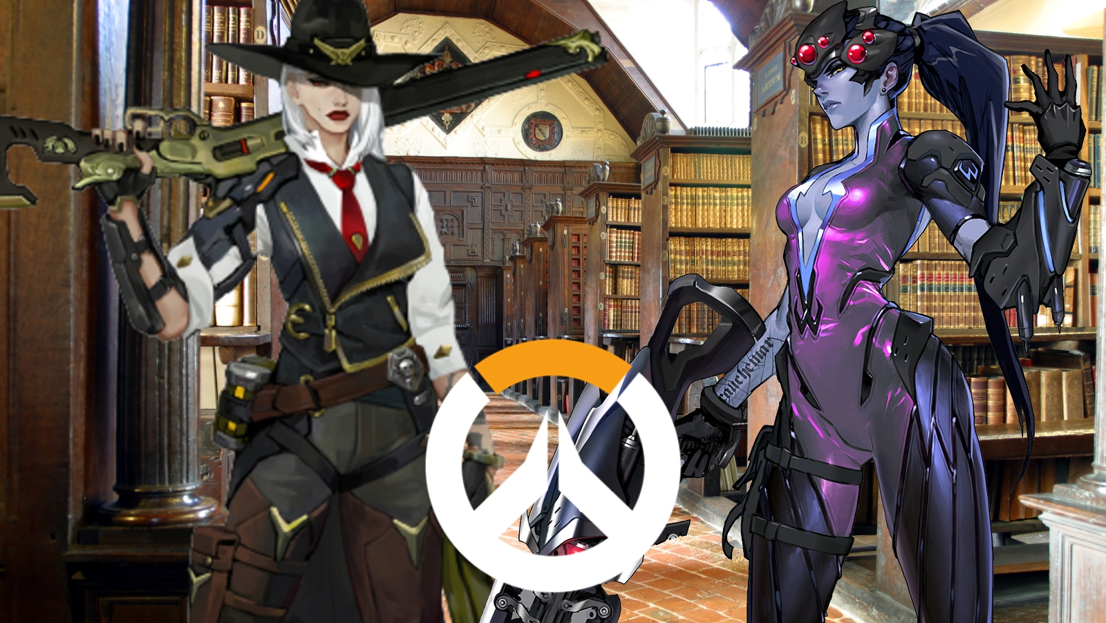 Overwatch Widowmaker and Ashe Academy Skin Concept Feat