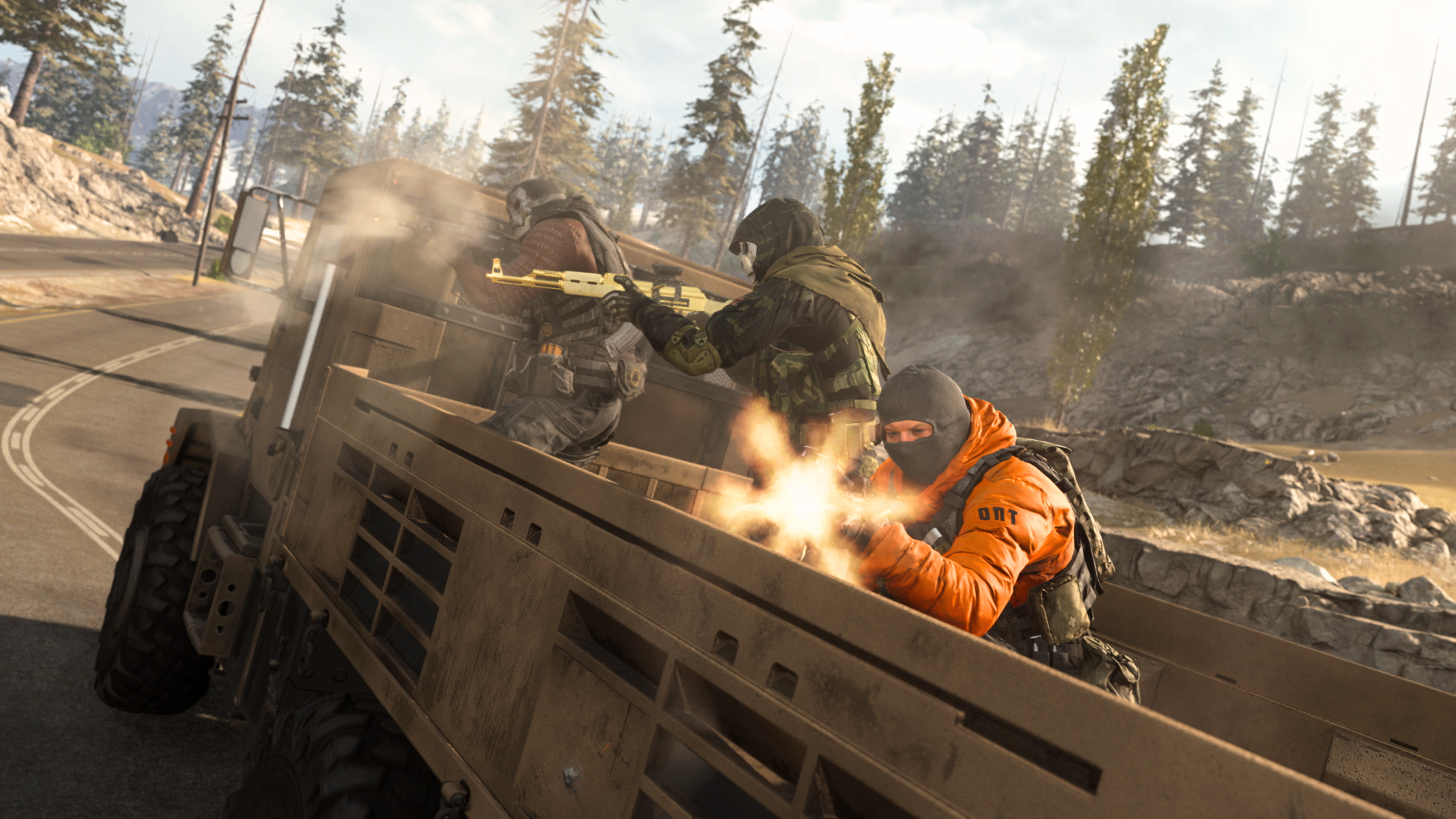 Warzone squad in vehicle