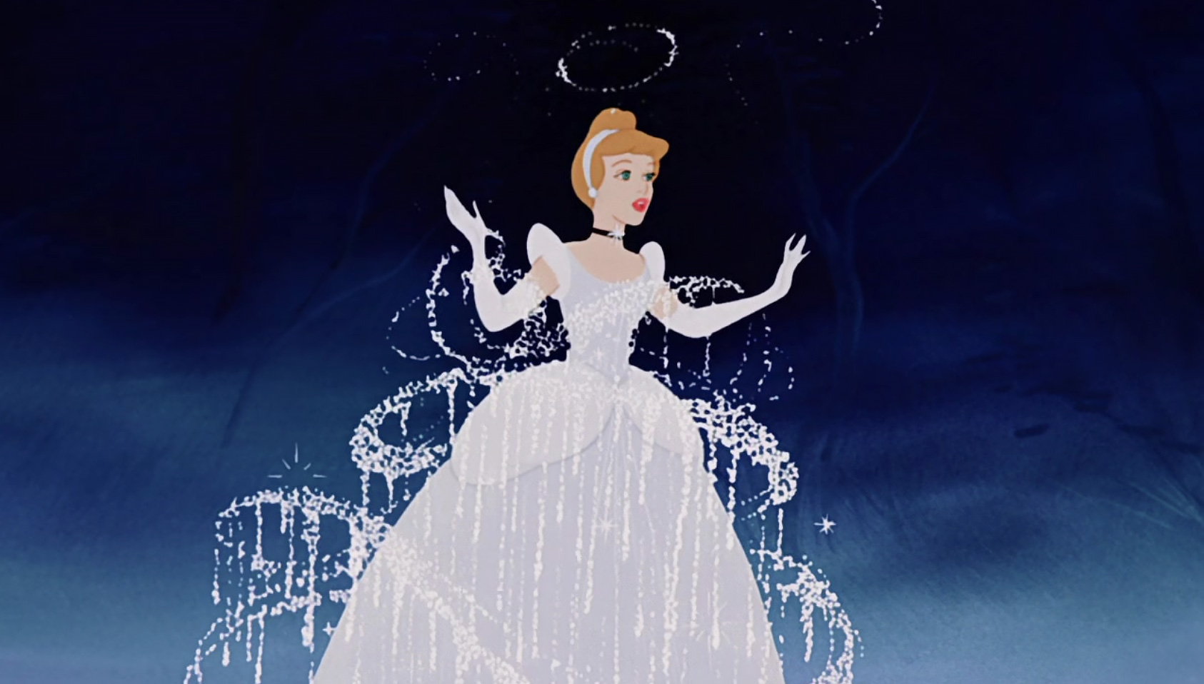 Screenshot of Cinderella transforming in Disney animation film.