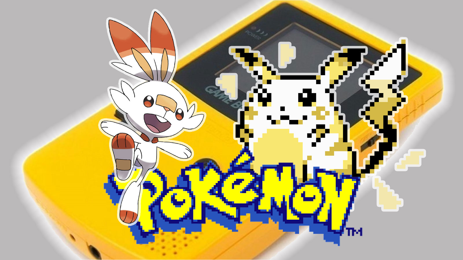 Screenshot of Scorbunny and Pixel Pikachu in front of a Nintendo Gameboy.