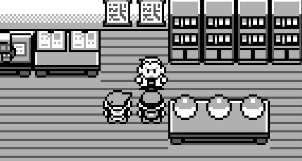 Screenshot of Pokemon Red & Blue choosing starter.
