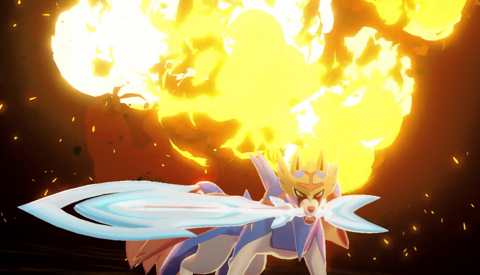 Screenshot of Pokemon Sword & Shield Legendary Zacian attacking.