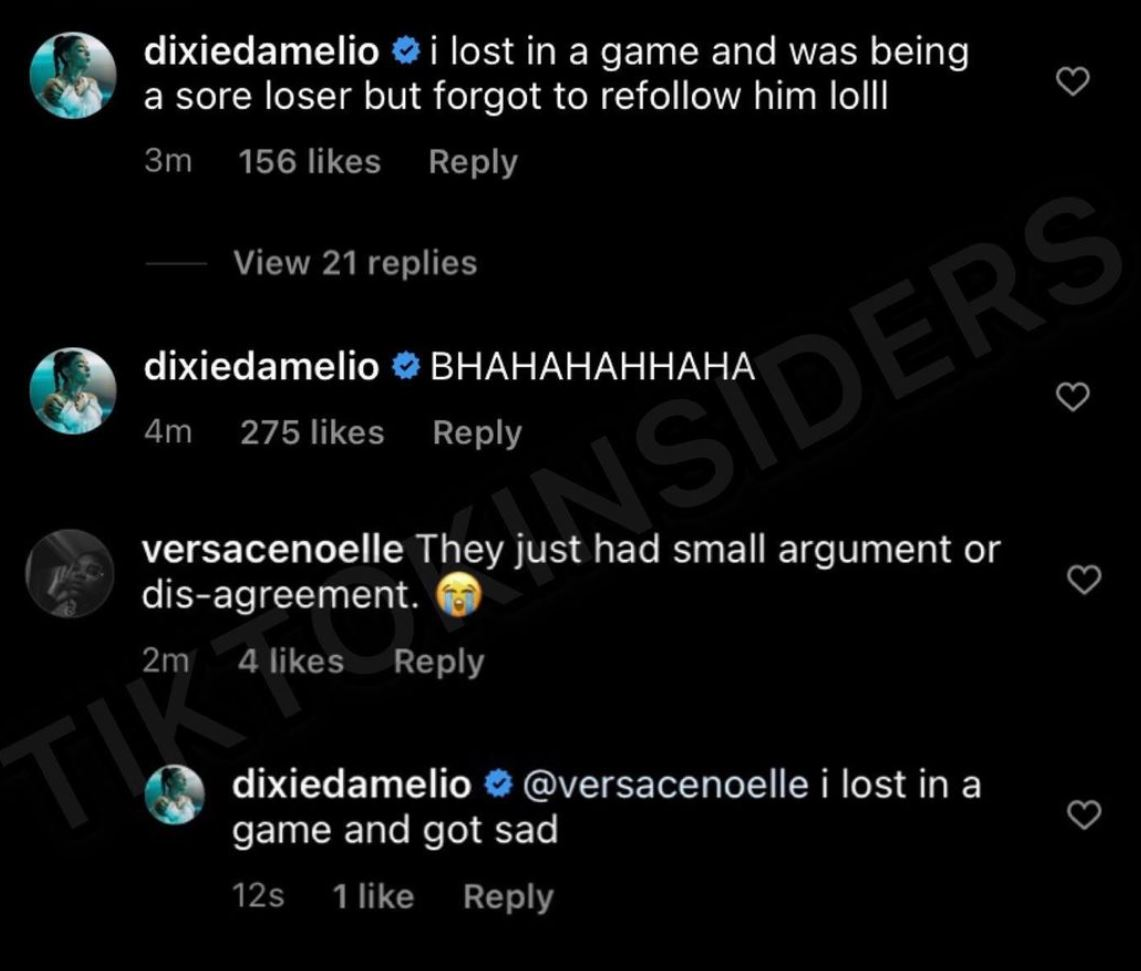 Dixie D'Amelio explains why she unfollowed Noah Beck on Instagram.