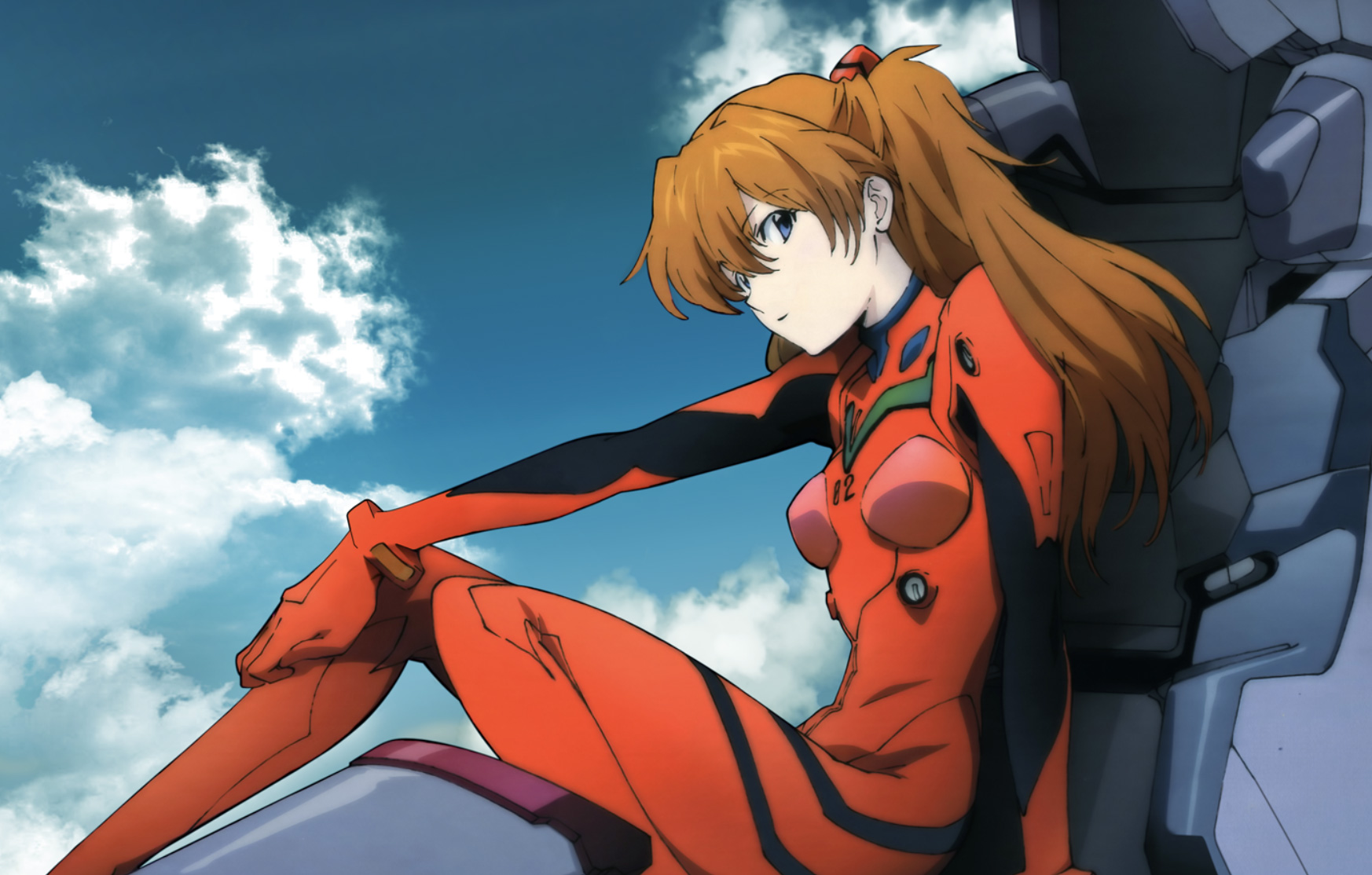 Screenshot of Asuka Langley in Evangelion anime sitting on a mech.