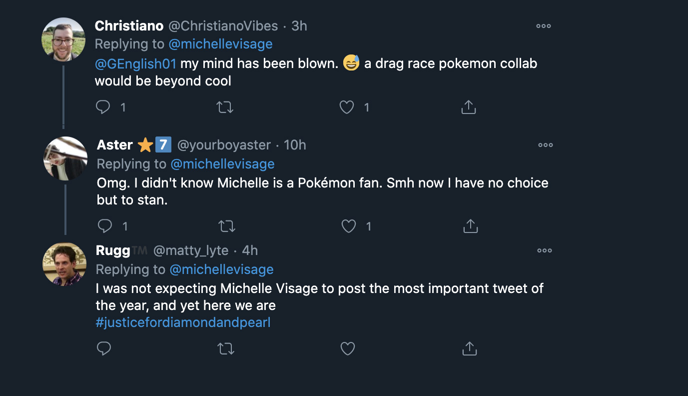 Screenshot of Pokemon fans reacting to Visage tweets on Pokemon.
