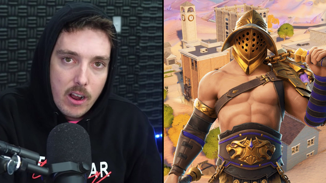 LazarBeam talking to his camera plus a Gladiator skin from Fortnite