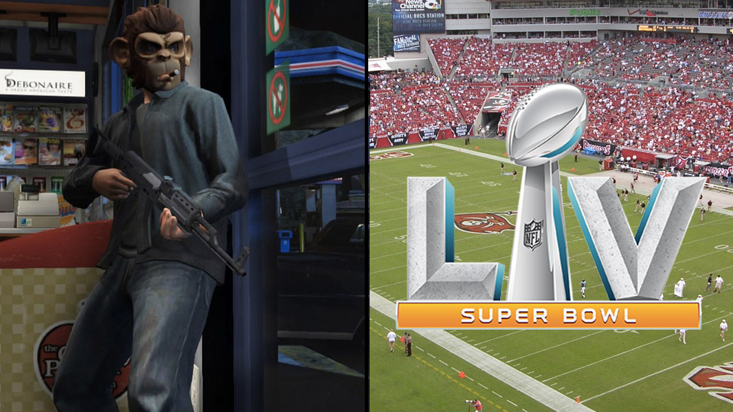 GTA v charatcer and the Super Bowl 55 logo