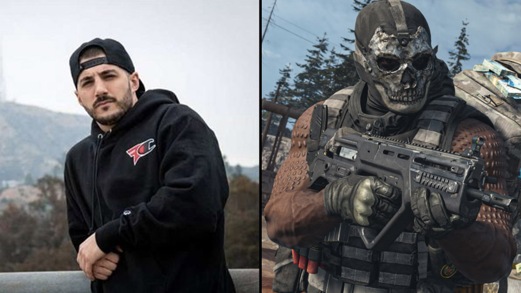 NICKMERCS side-by-side with a Warzone character using the Ram-7