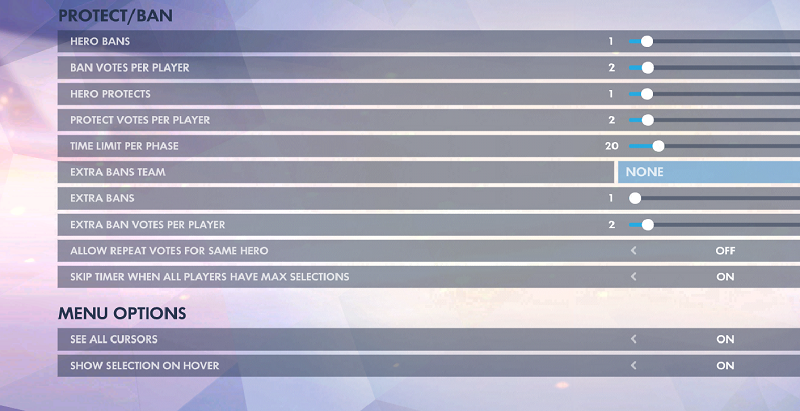 Overwatch hero ban settings