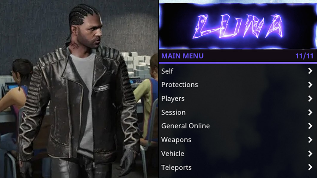 GTA Online character side-by-side with cheats menu