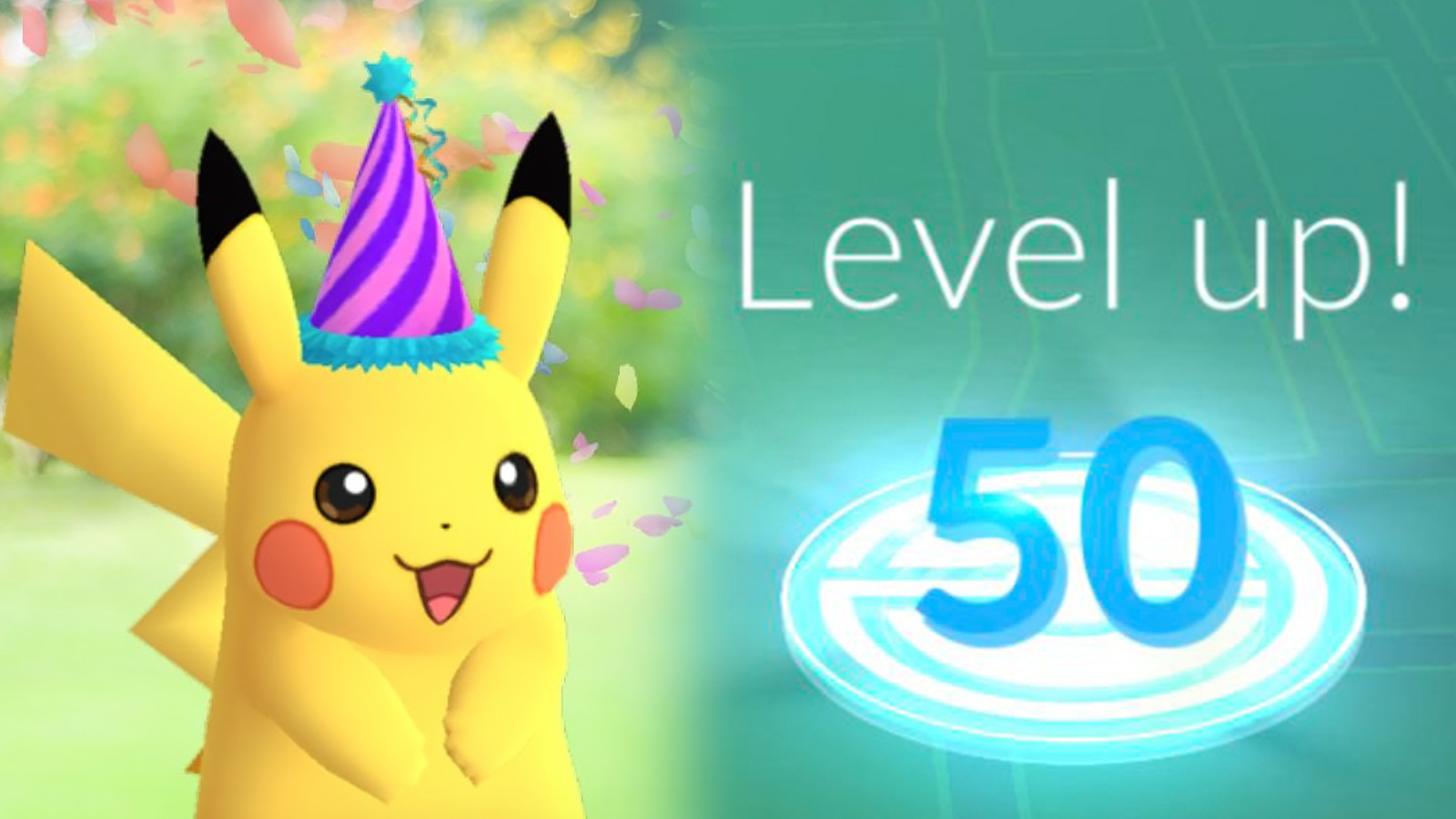 Screenshot of Pikachu wearing hat next to Pokemon Go Level 50 trainer rank.