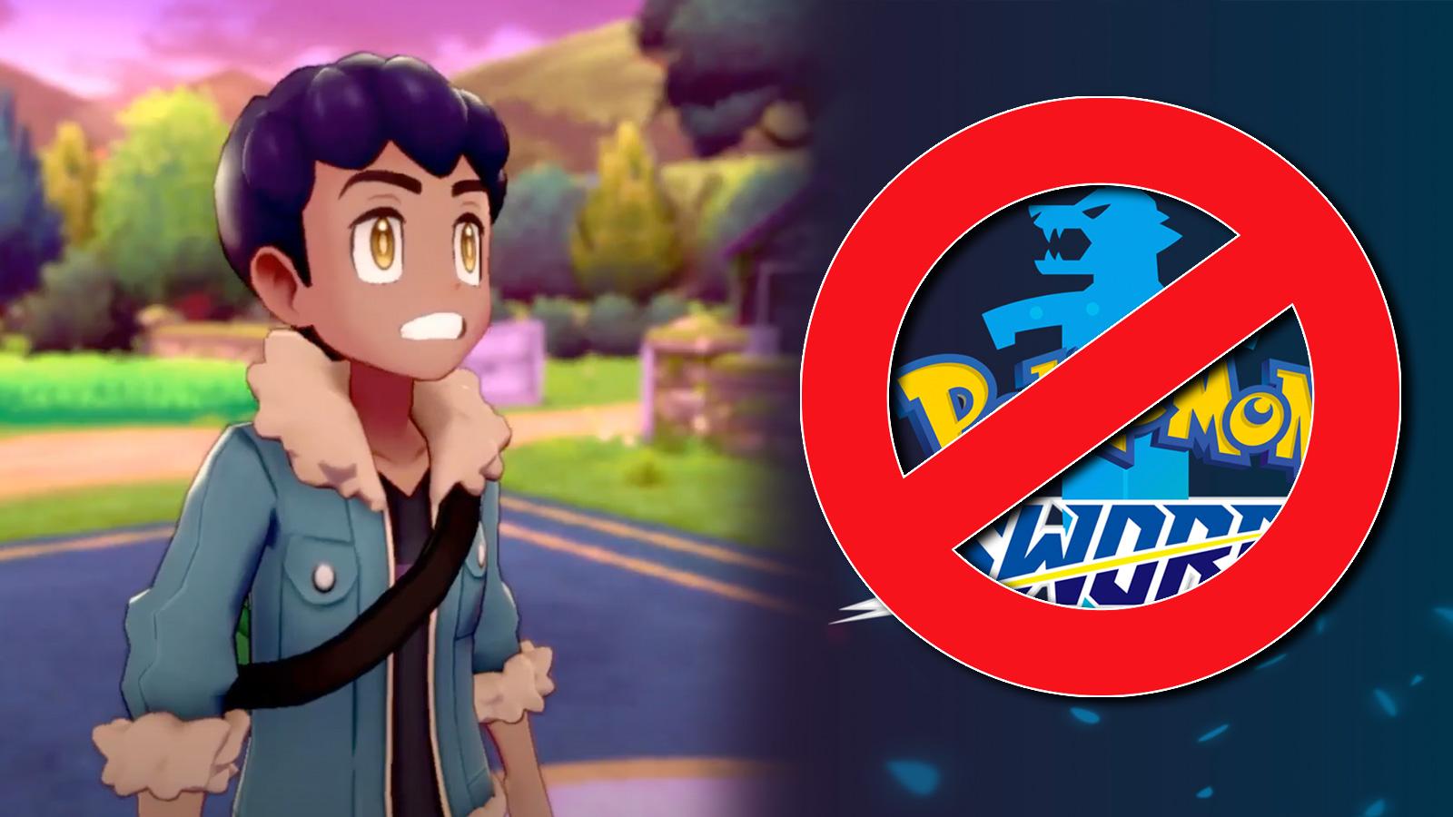 Screenshot of Pokemon Sword & Shield rival Hop next to censorship ban logo.