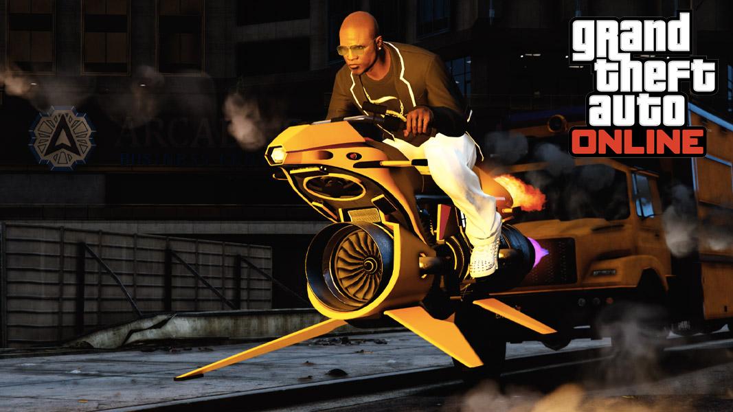 GTA online player riding a MK2 Oppressor through Los Santos