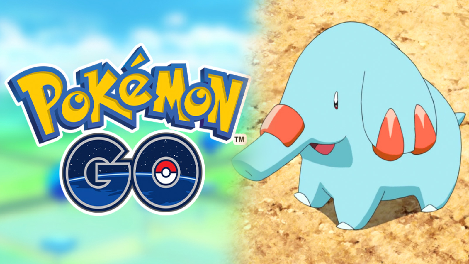 Screenshot of Pokemon Go logo next to Phanpy from Pokemon anime.