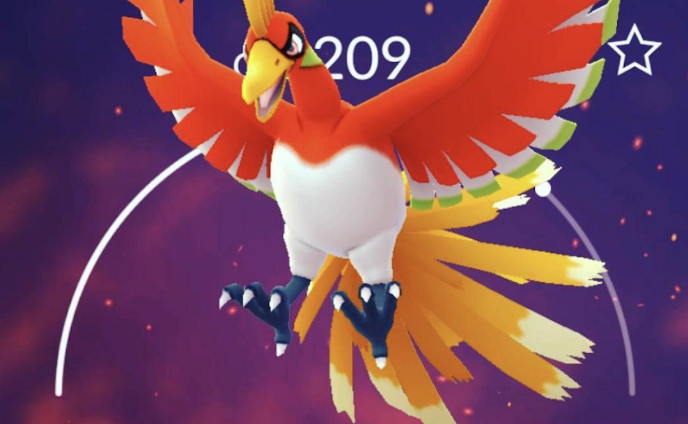 Screenshot of Legendary Ho-Oh in Pokemon Go.