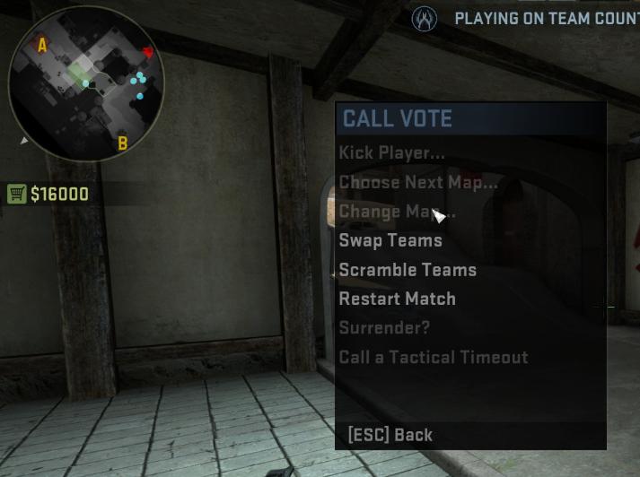 CS:GO Tactical Timeout menu