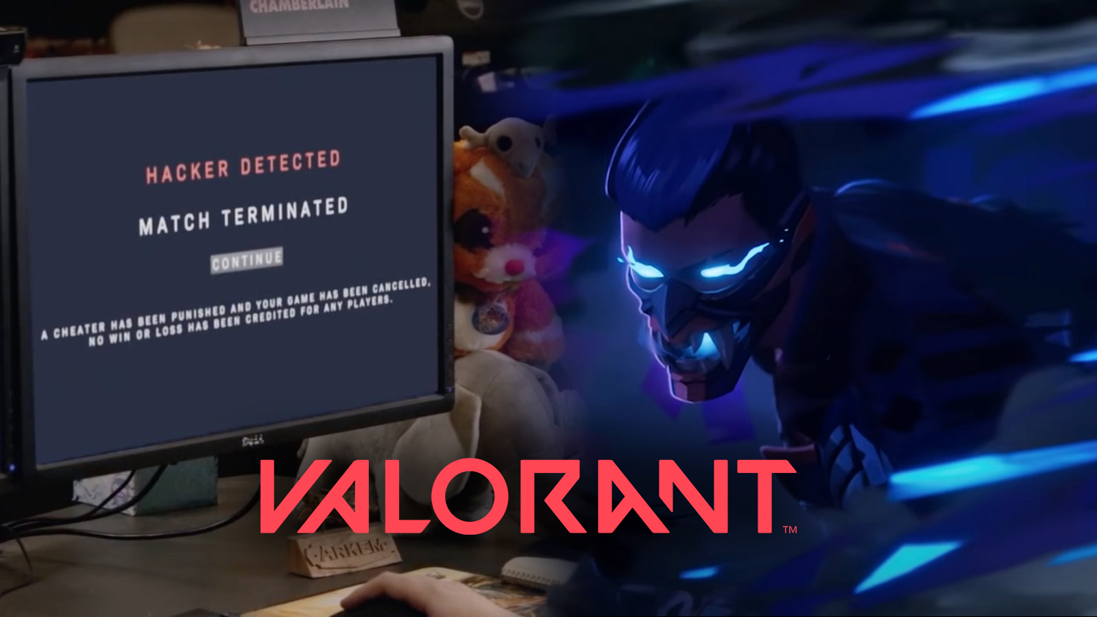 Valorant cheater detected screen next to Yoru