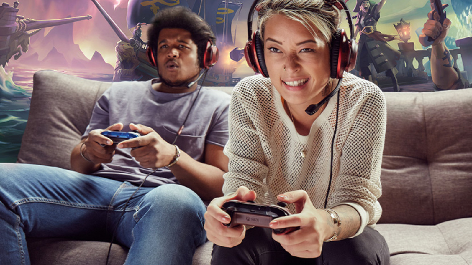 Gamers playing on a couch