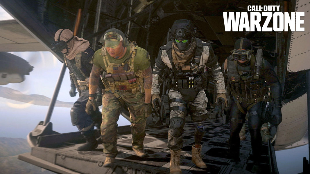 Warzone characters getting ready to drop into Verdansk