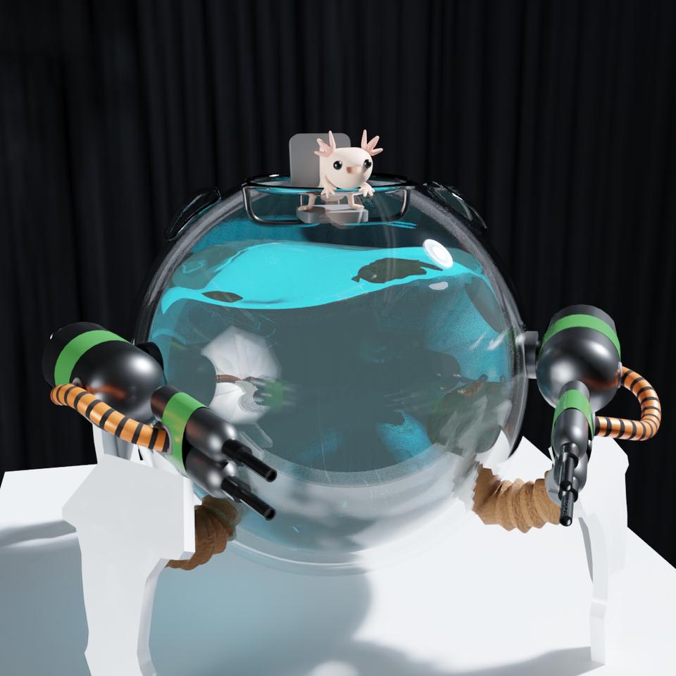 Axolotl Hammond 3d Render