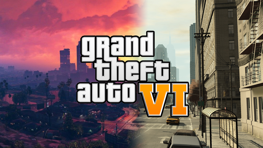 GTA 6 logo on Los Santos/Liberty City background