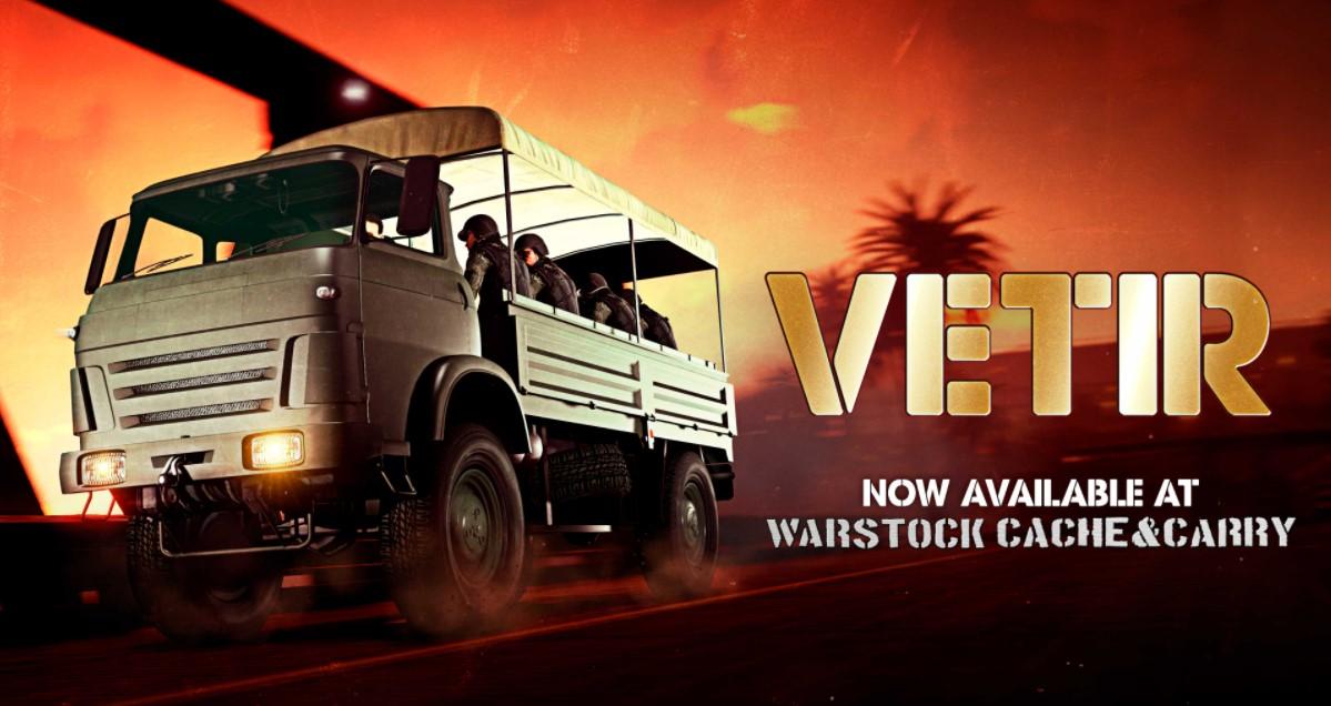 GTA Online advert for the VETIR truck.
