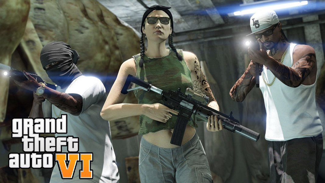 GTA onlien characters holding weapons
