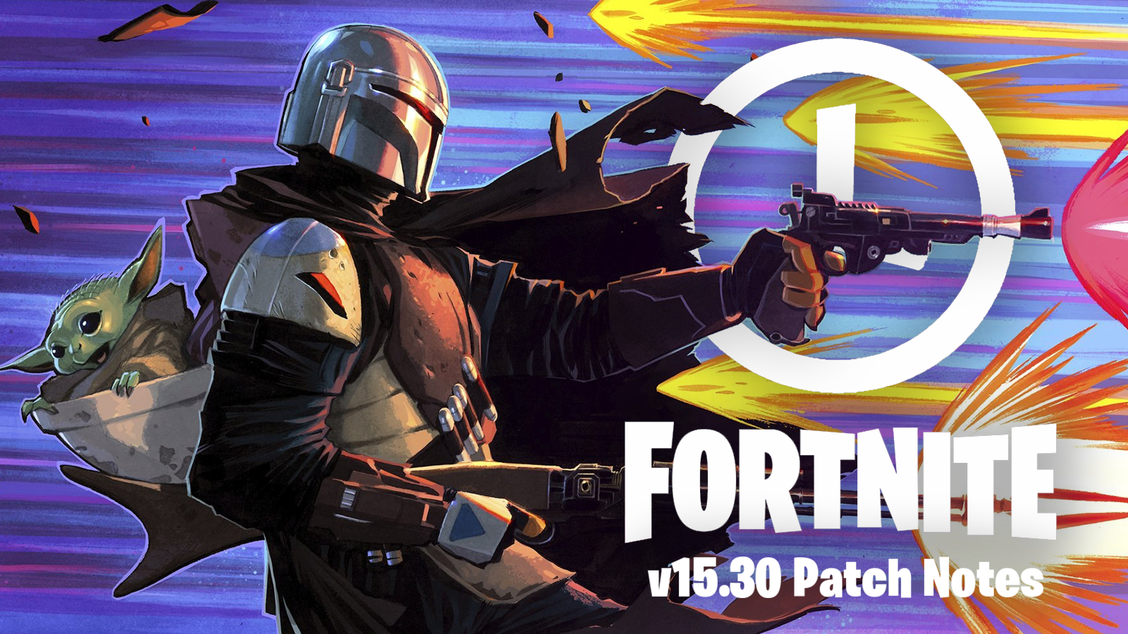 The Mandalorian shoots past Fortnite patch 15.30 update with Baby Yoda on his back.