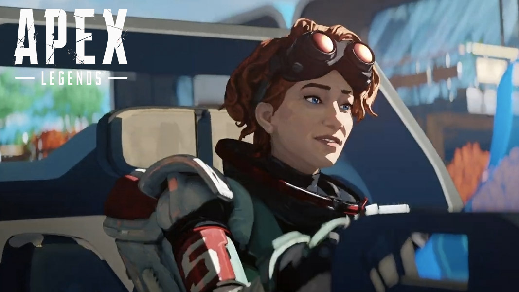 Horizon driving a Trident in Apex Legends