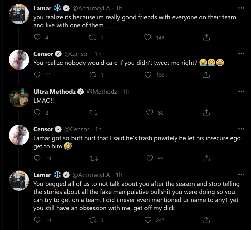 CDL players arguing on Twitter