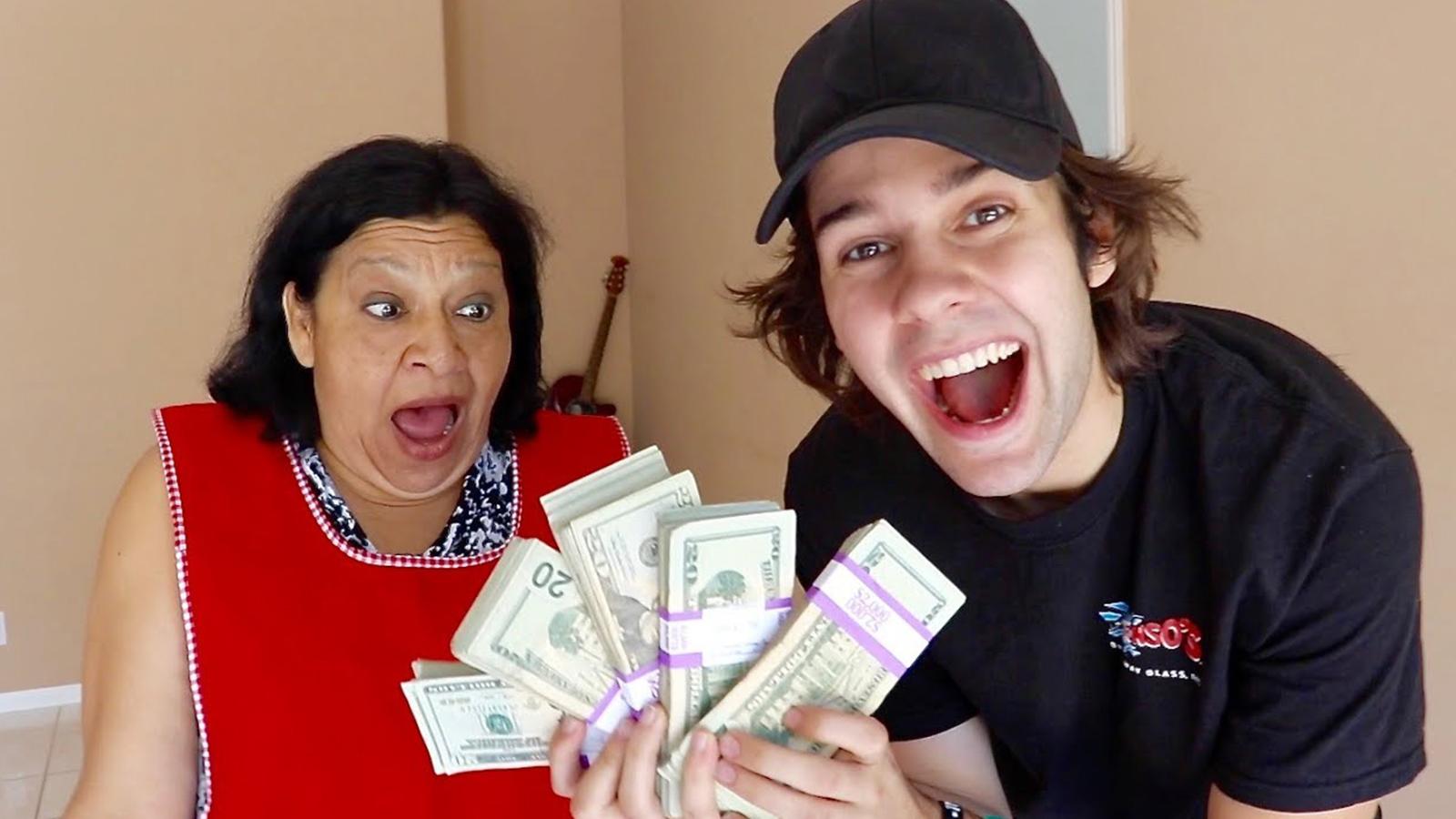 David Dobrik with money