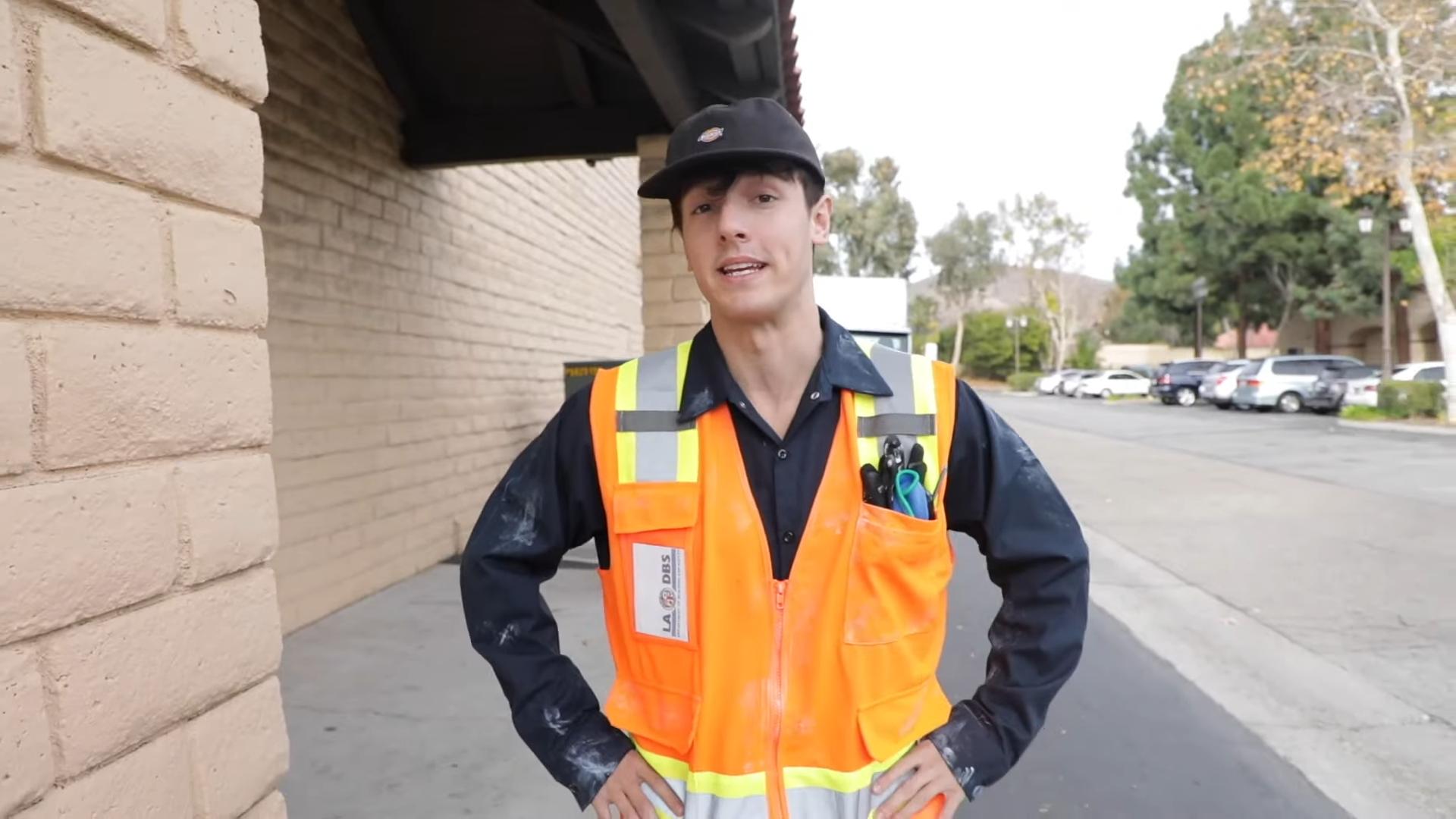 Bryce Hall wearing high vis vest