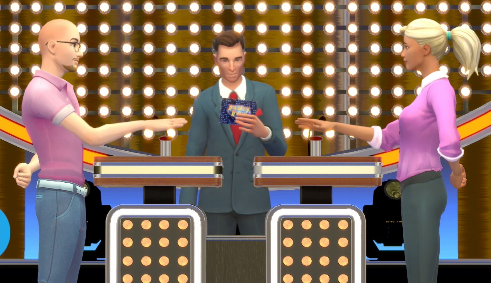 Two players playing the Family Feud game