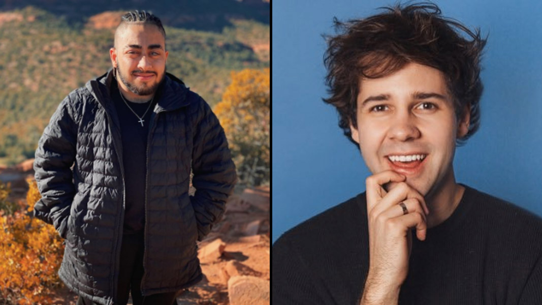 BigNik in Sedona with David Dobrik stood in front of a blue wall