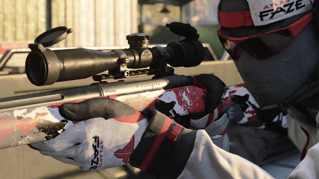 Atlanta FaZe skin in Cold War as a player uses a sniper