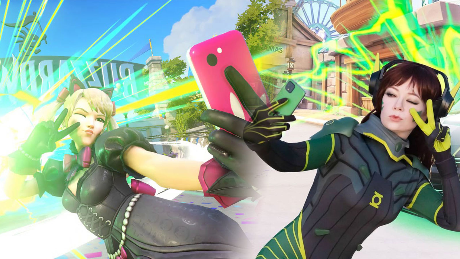 D.Va selfie Green Lantern cosplay
