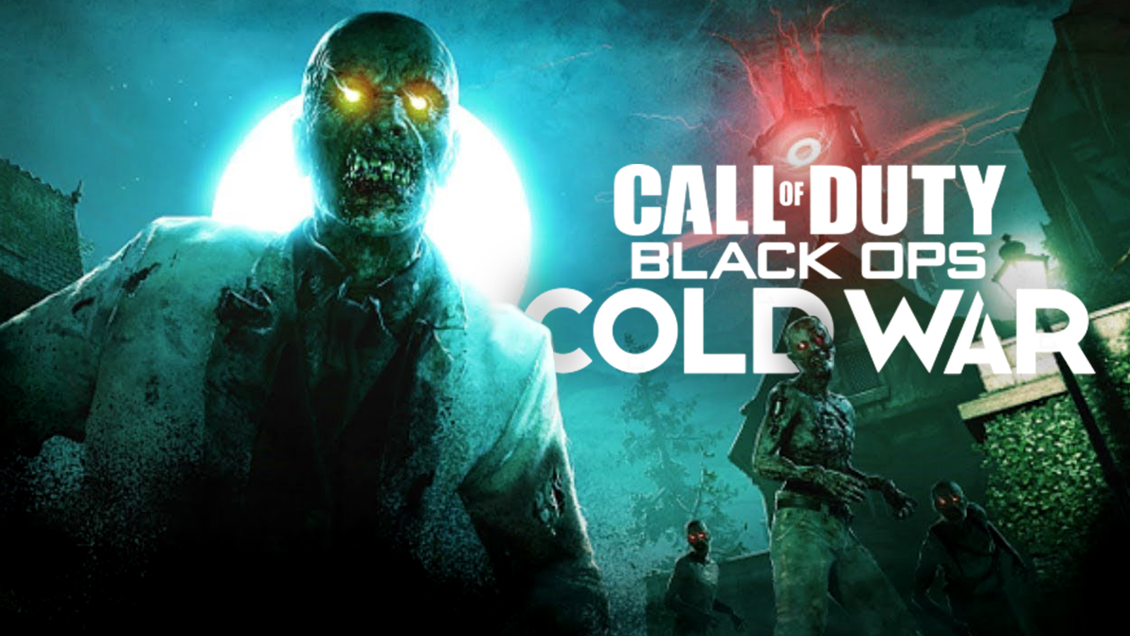 """Black Ops Cold War Zombies loom over game logo """"Outbreak"""" open world mode."""