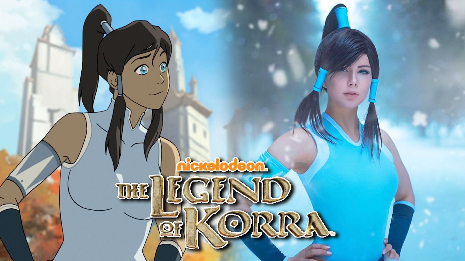Screenshot of Avatar Korra next to cosplayer.