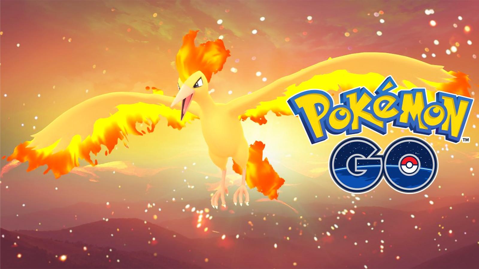 Screenshot of Legendary Bird trio Moltres in Pokemon Go.