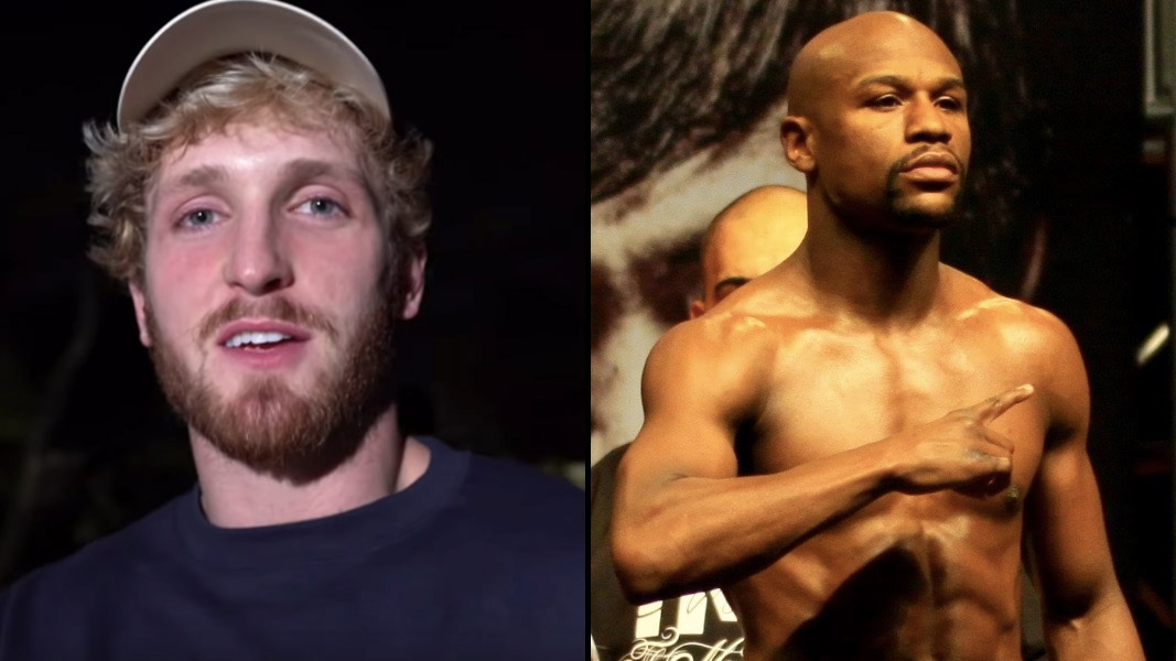 Logan Paul and Floyd Mayweather side-by-side