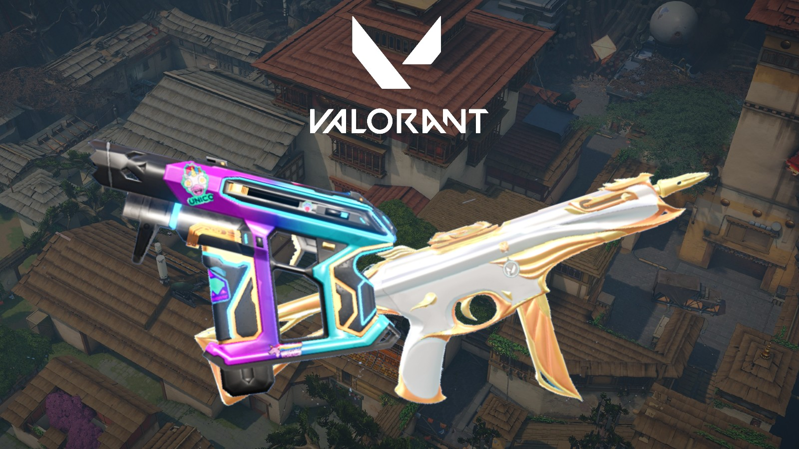 Nerf weapons Stinger and Frenzy on Valorant aven background