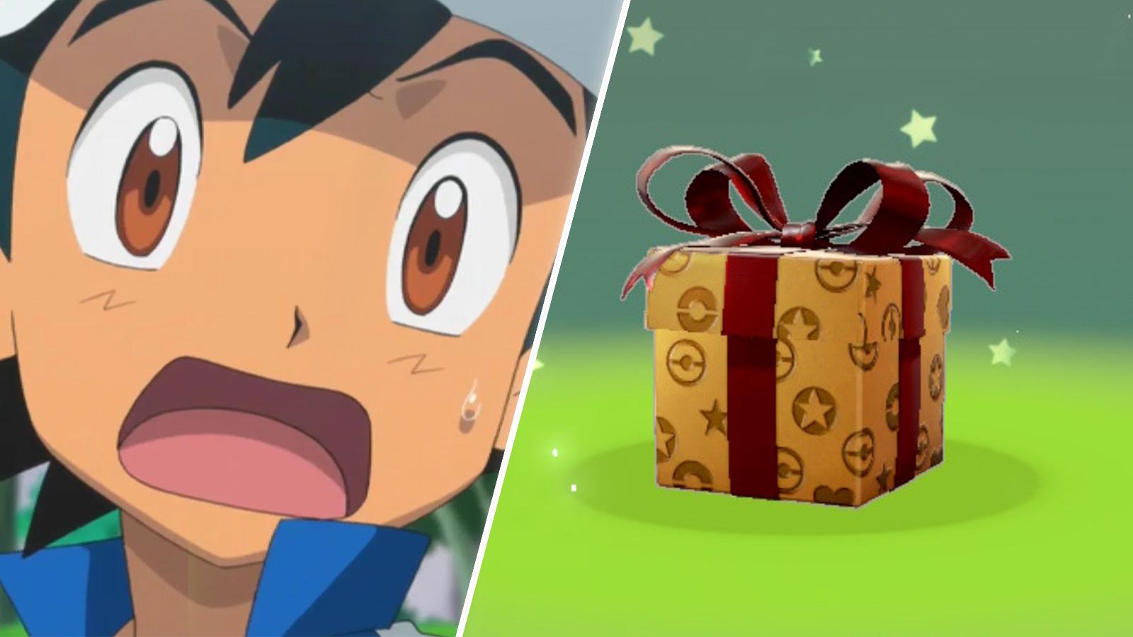 Screenshot Ash Ketchum from Pokemon anime next to Sword & Shield mystery gift.