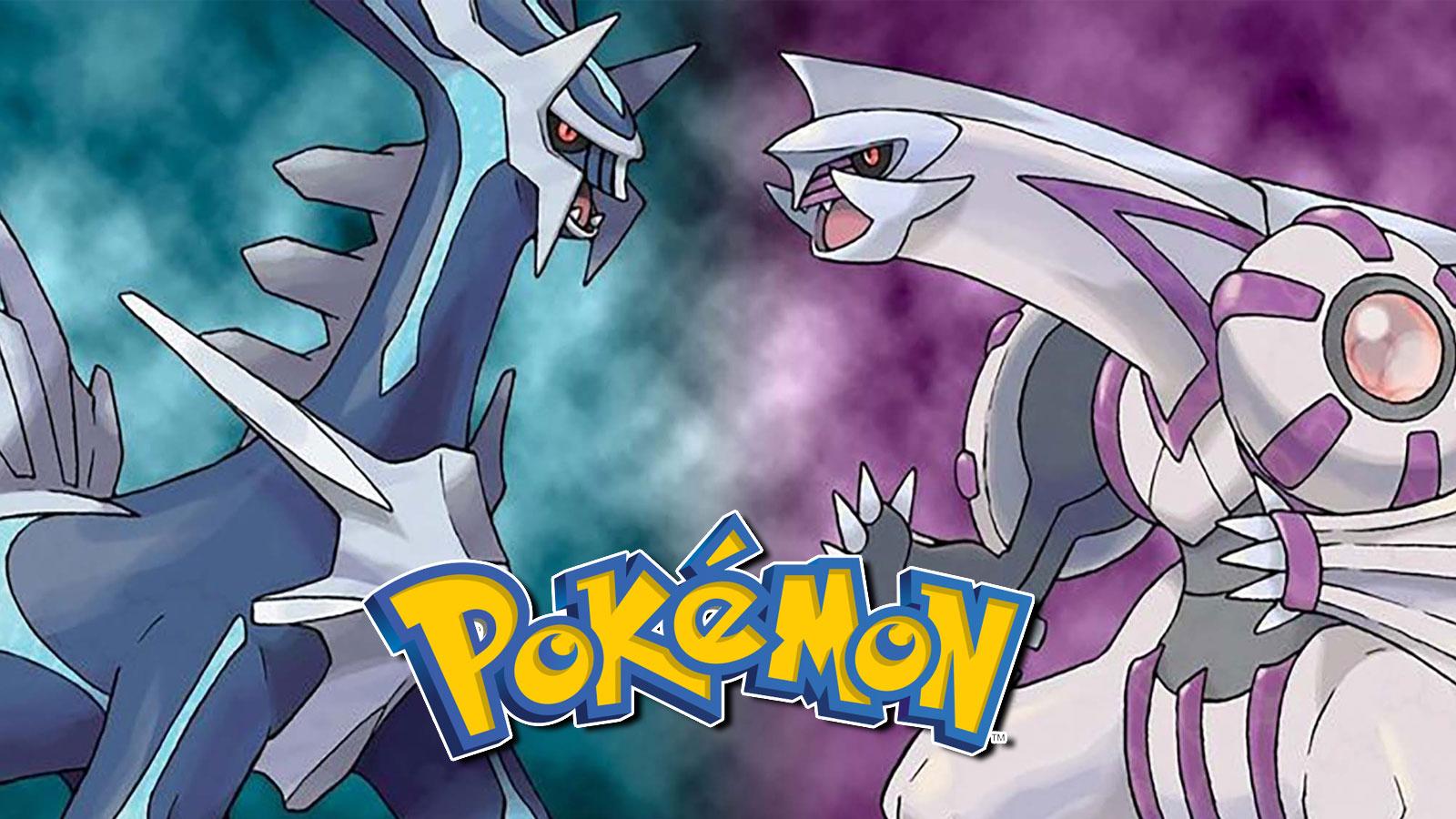 Screenshot of Diamond & Pearl Legendaries Dialga and Palkia next to Pokemon Logo.
