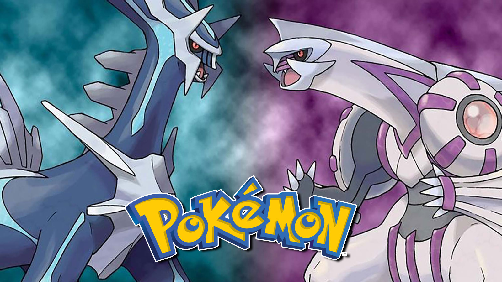Screenshot of Diamond & Pearl Legendaries Dialga and Palkia next to Pokemon Logo.