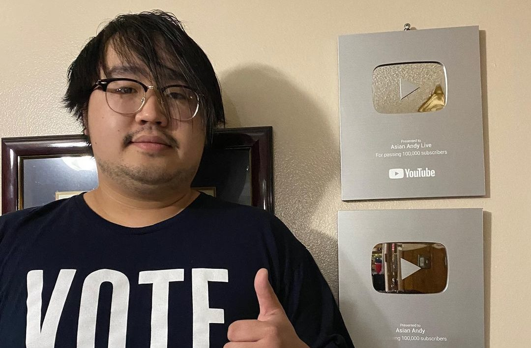 Asian Andy with his YouTube plaques