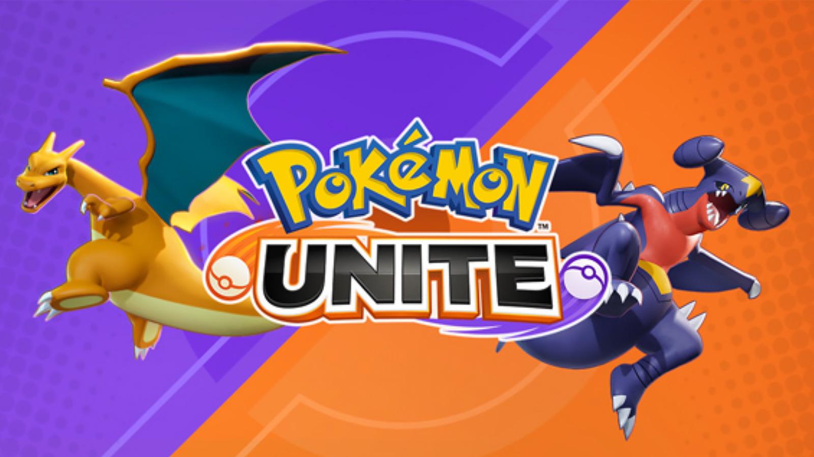 Screenshot of Charizard and Garchomp with Pokemon Unite logo.