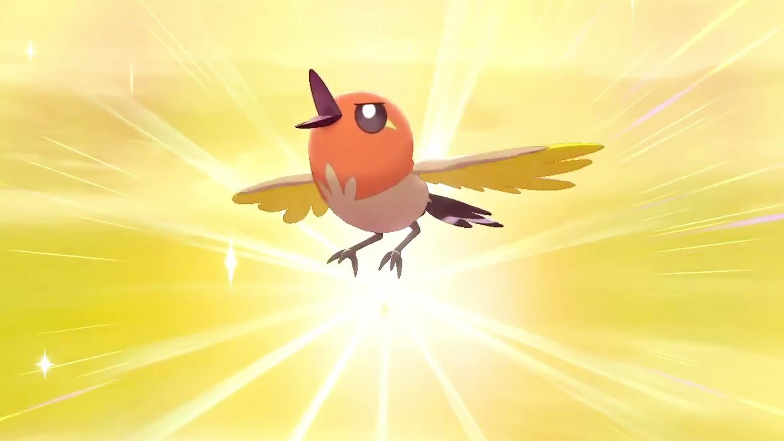Screenshot of Shiny Fletchling in Pokemon Sword & Shield.