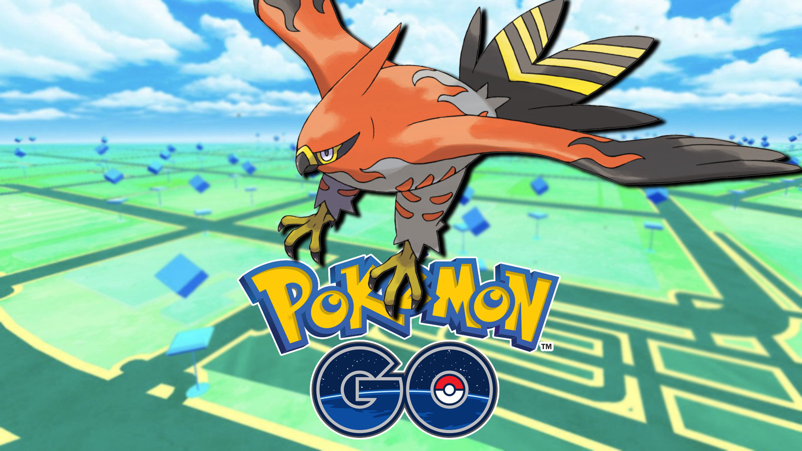 Screenshot of Talonflame flying over Pokemon Go logo.