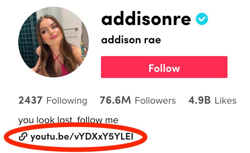 Addison Rae tiktok bio link