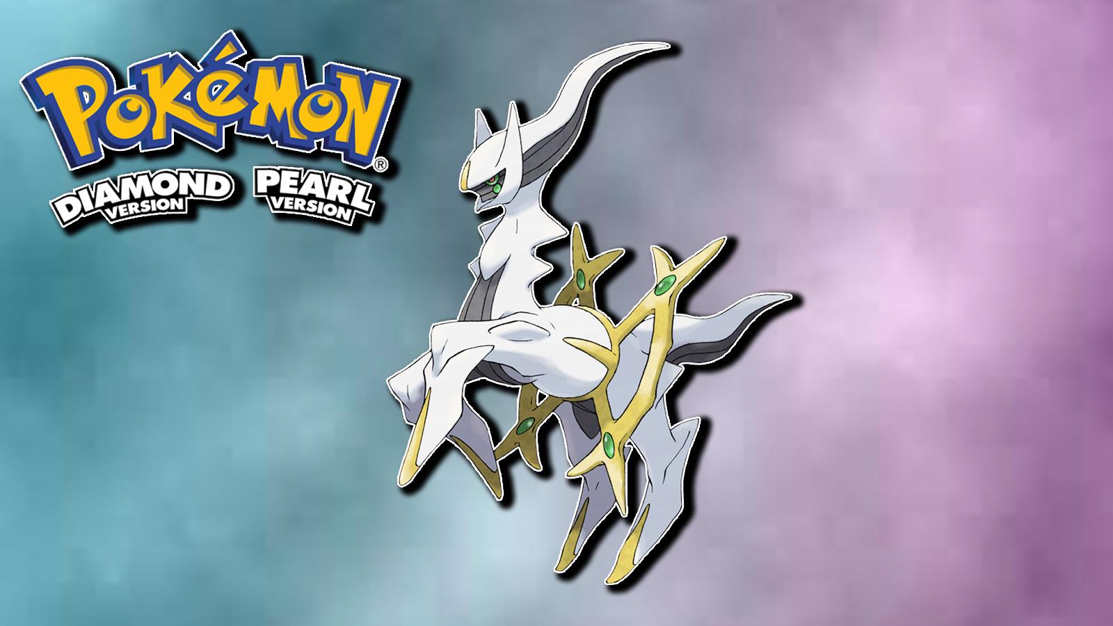 Screenshot of Legendary Pokemon Acreus next to Diamond & Pearl logo.